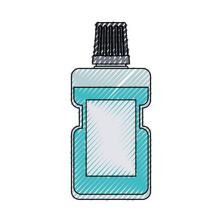 Bottle of mouthwash colored crayon illustration.