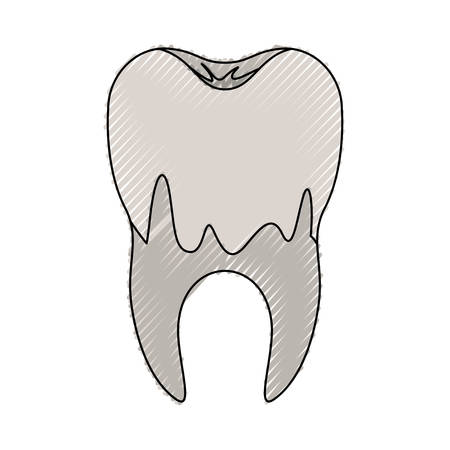 Caries in the root of tooth in colored crayon illustration.