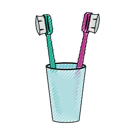 Glass with two toothbrush illustration. Illustration