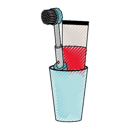 Glass with toothpaste and electric toothbrush.