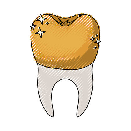 Tooth with dental golden crown and root in colored crayon silhouette vector illustration