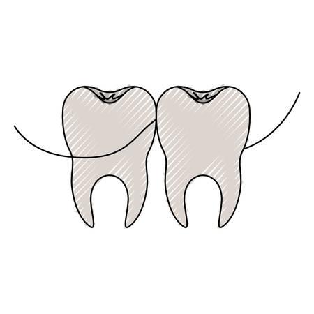 Teeth with dental floss between them Illustration