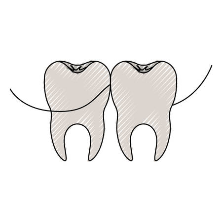 Teeth with dental floss between them Illustration