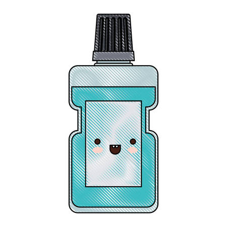 bottle mouthwash colored crayon silhouette vector illustration