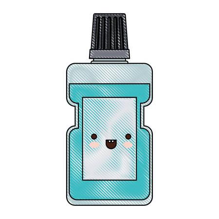 bottle mouthwash colored crayon silhouette vector illustration