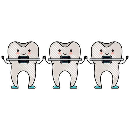 歯漫画色クレヨン シルエット ベクトル図に歯科ブレースと手をつないで