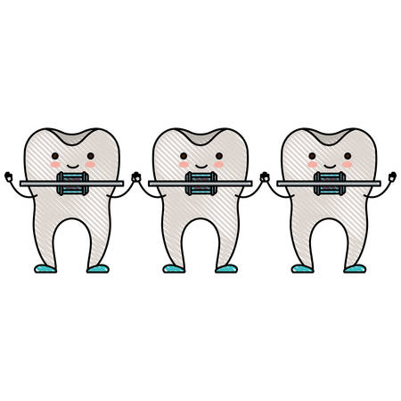 teeth cartoon holding hands with dental braces in colored crayon silhouette vector illustration Illustration