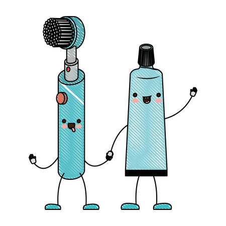 electric toothbrush and toothpaste holding hands in colored crayon silhouette vector illustration