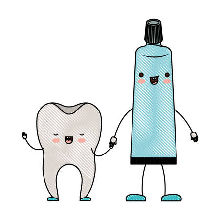 tooth and toothpaste in cartoon holding hands in colored crayon silhouette vector illustration