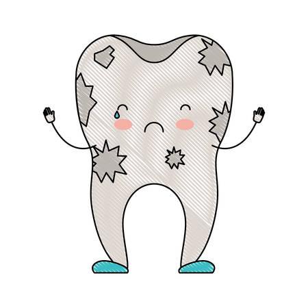 dientes sucios: dibujos animados de diente sucio en la ilustración de vector de color crayon silueta