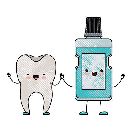 tooth and mouthwash in cartoon holding hands in colored crayon silhouette vector illustration