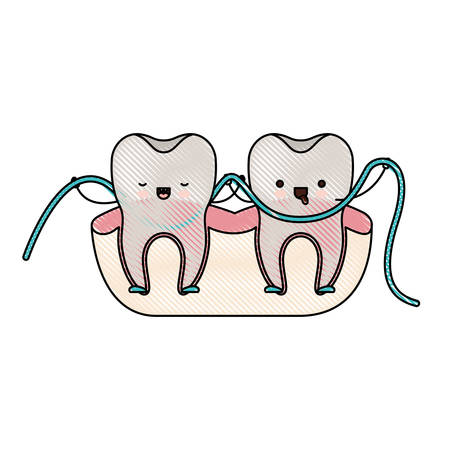 Teeth Cartoon And Dental Floss Between Them Holding Hands In Colored Crayon Silhouette Vector Illustration