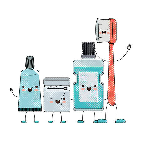 toothpaste and dental floss and mouthwash and toothbrush in cartoon holding hands in colored crayon silhouette vector illustration Illustration