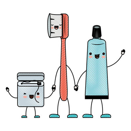 dental floss and toothbrush and toothpaste in cartoon holding hands in colored crayon silhouette vector illustration