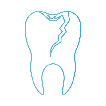 broken tooth with root in degraded green to blue color contour vector illustration Illustration