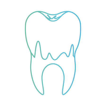 caries in the root of tooth in degraded green to blue color contour vector illustration