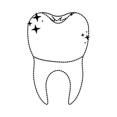 enjuague bucal: Tooth with dental crown icon. Vectores
