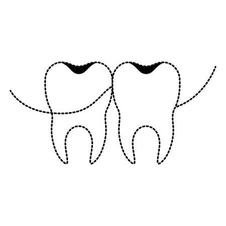 Teeth with dental floss icon. Illustration