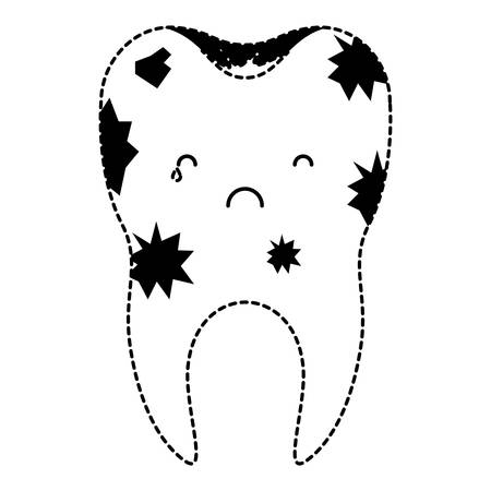 Dirty tooth with root in black dotted silhouette vector illustration Illustration