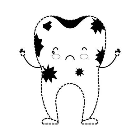 dientes sucios: Dirty tooth cartoon.