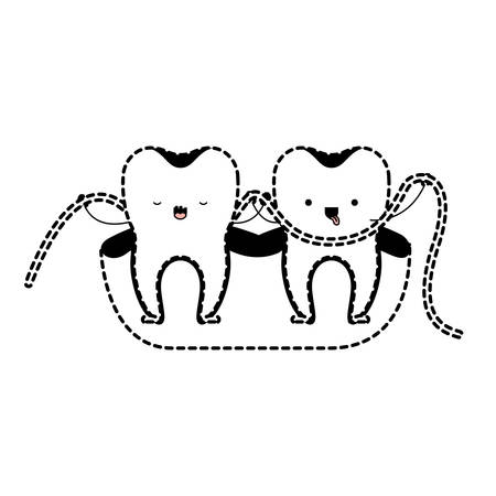 them: Teeth cartoon and dental floss between them and holding hands in black dotted silhouette vector illustration Illustration