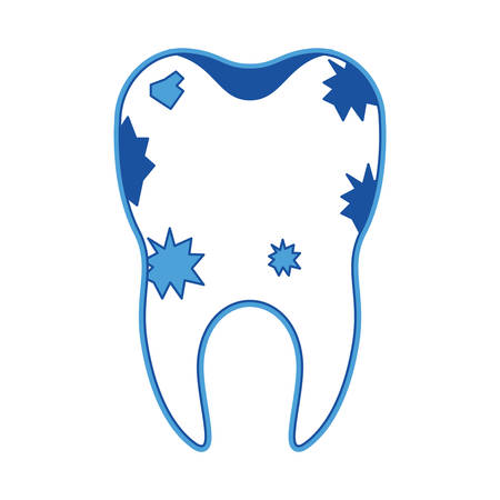 Dirty tooth with root in blue silhouette vector illustration Illustration