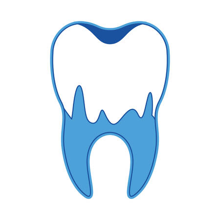 Caries in the root of tooth in blue silhouette vector illustration