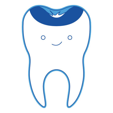 Cute restored tooth with root in blue silhouette vector illustration.
