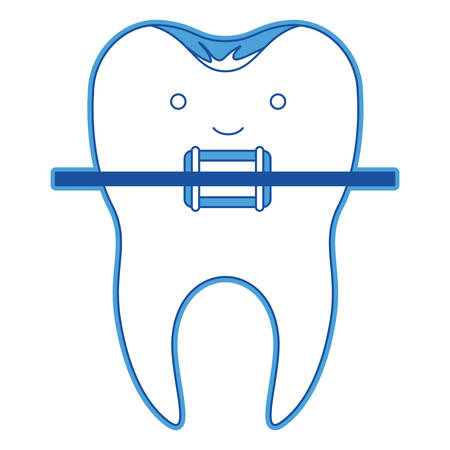Kawaii tooth with root and brace in blue Illustration