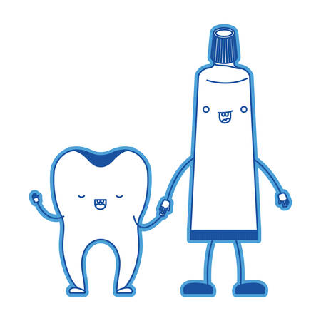 Tooth and toothpaste cartoon holding hands in blue silhouette vector illustration Illustration