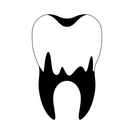 caries in the root of tooth in black silhouette vector illustration Illustration