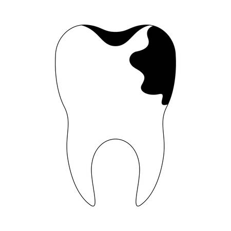 tooth with root and caries by side in black silhouette vector illustration