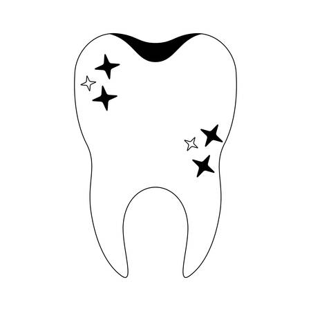 healthy tooth with root in black silhouette vector illustration