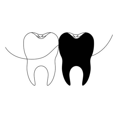teeth with dental floss between them in black silhouette vector illustration Illustration