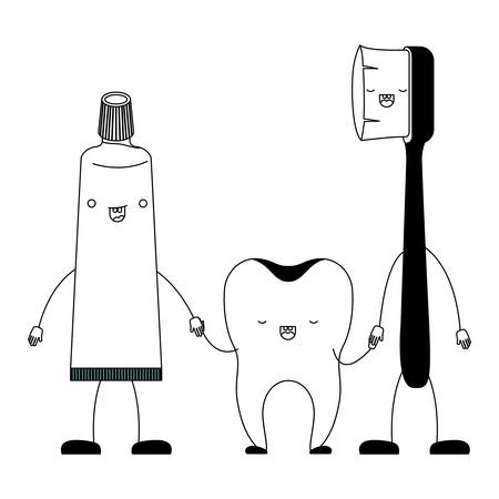 toothpaste and tooth and toothbrush in cartoon holding hands in black silhouette vector illustration