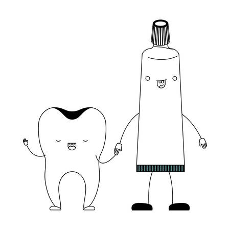 tooth and toothpaste in cartoon holding hands in black silhouette vector illustration Illustration