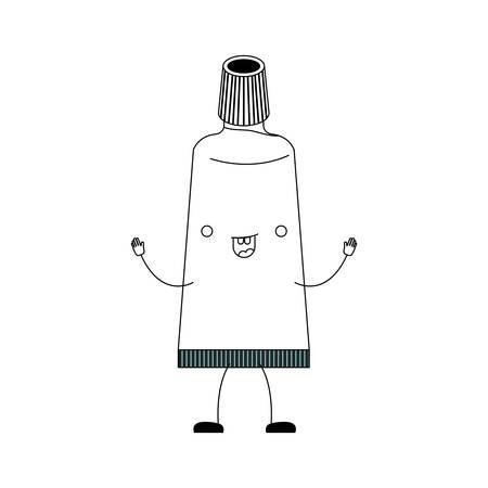 toothpaste tube cartoon in black silhouette vector illustration Illustration