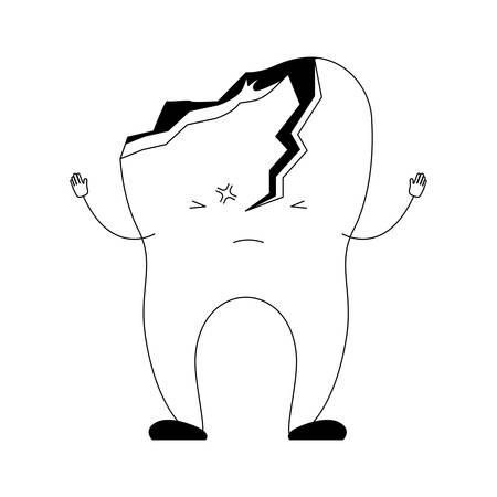 cartoon tooth broken in black silhouette vector illustration Illustration