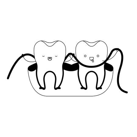 teeth cartoon and dental floss between them and holding hands in black silhouette vector illustration