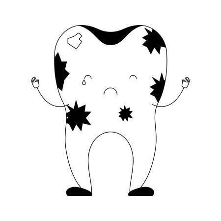 dientes sucios: dirty tooth cartoon in black silhouette vector illustration Vectores