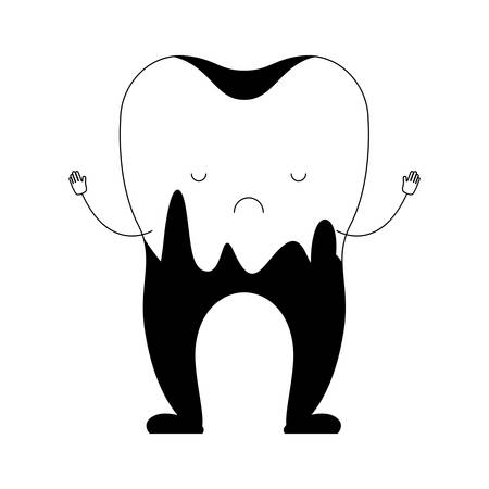 cartoon caries in the root of tooth in black silhouette vector illustration Illustration