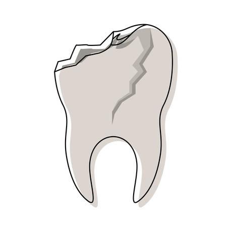 enjuague bucal: diente con raíz y roto en acuarela silueta vector ilustración