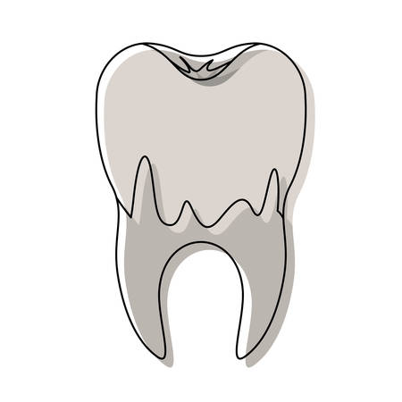 caries in the root of tooth in watercolor silhouette vector illustration