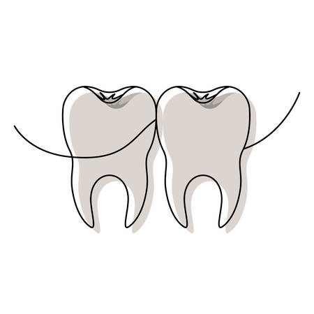 teeth with dental floss between them in watercolor silhouette vector illustration Illustration