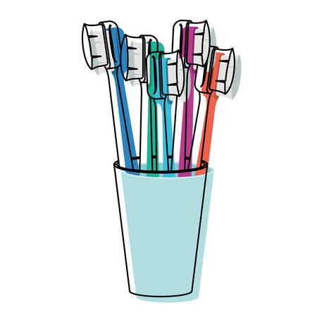 glass with several toothbrush in watercolor silhouette vector illustration Illustration