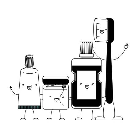toothpaste and dental floss and mouthwash and toothbrush in cartoon holding hands in black silhouette vector illustration
