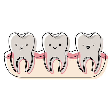 teeth expression with root of the tooth at sight in watercolor silhouette vector illustration