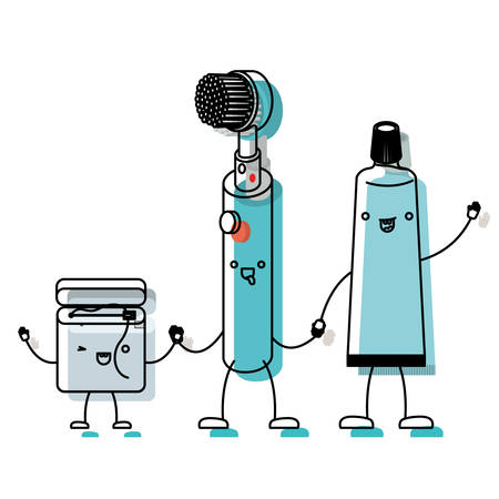cartoon dental floss and electric toothbrush and toothpaste holding hands in watercolor silhouette vector illustration Illustration