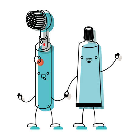 electric toothbrush and toothpaste holding hands in watercolor silhouette vector illustration