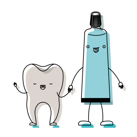 tooth and toothpaste in cartoon holding hands in watercolor silhouette vector illustration Vettoriali